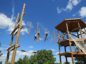 New Maxwell Students on the High Ropes at SU's Challenge Course