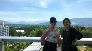 Emily Fredenberg (left) and fellow intern at the World Health Organization in Geneva