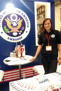 Julianne Dunn working at the U.S. Embassy booth for the USAFair at Central World in Bangkok, Thailand