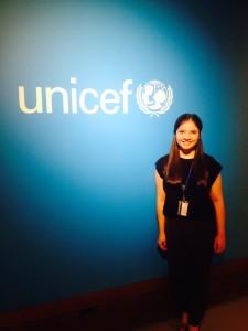 Nicole Gerke Standing at the UNICEF photo zone