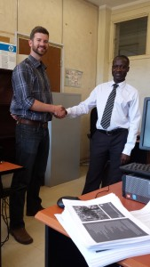 Justin Gradek & Dr. Francis Wasswa, Economic Development Policy and Research at the Ministry of Finance, Planning, and Economic Development.