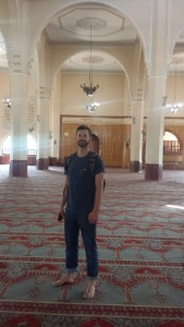 Justin Gradek inside the sanctuary of the Uganda National Mosque.