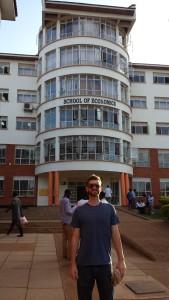 Justin Gradek, in front of School of Economics, Makerere University