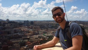Justin Gradek, on top of-the minaret, at the Gadafi Mosque