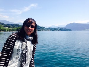 Hyeseul Hwang in front of Lake Geneva