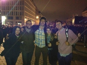 Atlantis students Celina Menzel, Andrew Lyman, Tim Stoutzenberger, Rachel Penner, & Marc Barnett at the Berlin Festival of Lights