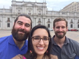 Chilean Diego Rivera, Maxwell MPA alumna Eliana Briceno, and Ryan Drysdale in front of the Chilean executive office called La Moneda