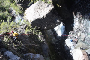 Ryan Drysdale is Repelling down a 75 foot cliff outside of Pucón, Chile