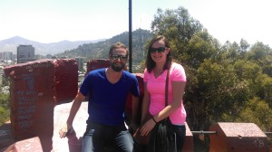 Ryan Drysdale and Maxwell MAIR-ECON student Julianne Dunn on top of the Santa Lucia hill in the heart of Santiago, Chile