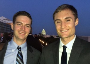 Attending a conference with Maxwell alum Kean Clifford, on the roof of D.C.s Newseum.