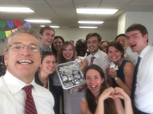 Selfie with IJM's CEO, Gary Haugen and other interns at IJM HQ. He delivered us delicious brownies made by his wife, Jan.