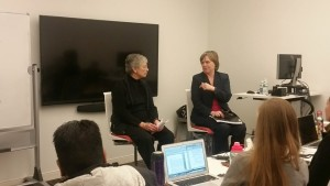 Former Executive Director of UNICEF, Carol Bellamy, and Prof. Bertni giving a speech in the Fisher Center in New York City. It was an overwhelming moment for all students who took the UN course.