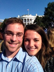 Edward Lynch & Nicole Martinez in front of South Lawn of the White House for Pope Francis' visit