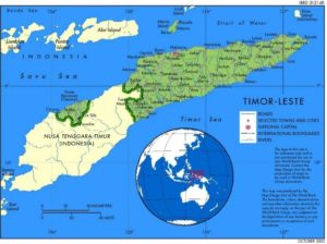 Map of Timor-Leste & location on the globe