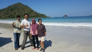 Selong Belanak Beach, South Lombok- Alongside staff from the GP Participatory Land Use Planning (PLUP) project activity on a remote rural beach on the way to a project site