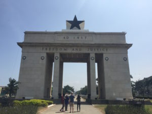 SU students (from L-R) Francis Morency, Hatou Camara, Sam Conners, and Alison Rivera at Black Star Gate, in downtown Accra. This picture was taken on a weekend when we explored landmarks around the city.