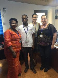 Me with IOM Ghana's AVRR team (from left to right, Doris Ohene-Kankam, Emmanuel Oppong, and Nuria Vidal-Fernandez).