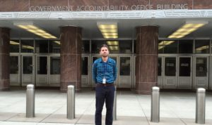 Matt Kienzle in front of the GAO