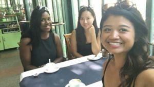 Janessa Price, Suhyeon Lee, and Claudine Lim in Parc des Bastions, Geneva, Switzerland