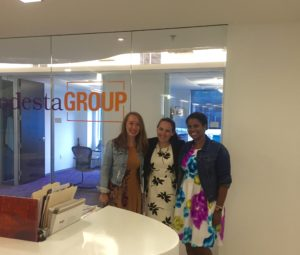 Charlene Cordero with Shelby Jamerson, Global Fellow and Alyssa Hassett, International Policy Analyst. Charlene's closest coworkers PG.
