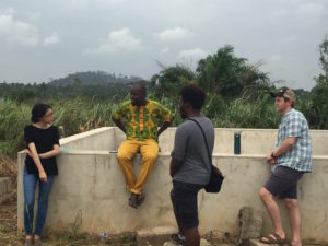 Alison Rivera, Francis Morency and Sam Connors interview an IOM program beneficiary