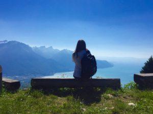 Maria Chiara Vinciguerra above Lake Geneva