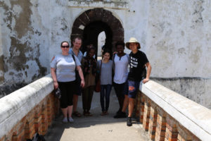 Emily Hoerner, Sam Connors, Hatou Camara, Alison Rivera, Francis Morency, and Jinpu Wang at Elmina Castle, a UNESCO World Heritage