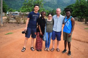 Syracuse University students L-R: Jinpu Wang, Hatou Camara, Alison Rivera, Sam Connors, and Francis Morency in the field