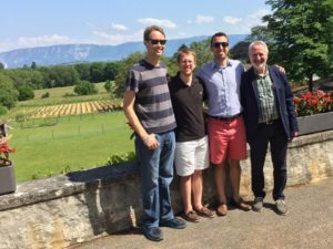 James Murray, Chris Damon-Cronmiller, Ivan Zhivkov, and Associate Professor Werner Schleiffer in Switzerland