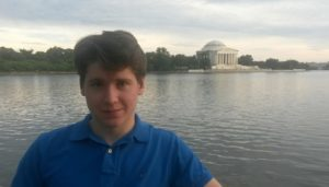 Mikhail Strokan in front of the Thomas Jefferson Memorial