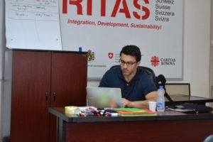 Tim Stoutzenberger working at Caritas Switzerland's Western Balkans Regional Coordination Office in Sarajevo, Bosnia and Herzegovina