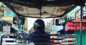 In the early weeks of my internship, I rode a tuk tuk with my roommate to work. Later I switched to riding (definitely not driving!) a moto.