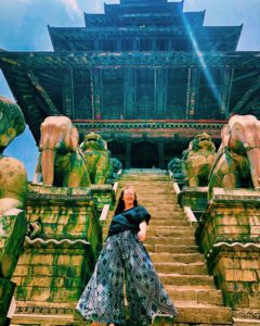 Maggie Callan at a Nepalese Temple