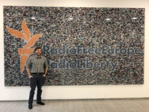 Eric Baker at Radio Free Europe/Radio Liberty in Prague, Czech Republic