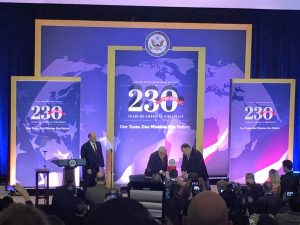Secretary of State Michael R. Pompeo cuts a ceremonial cake with former Secretary of State Dr. Henry Kissinger at an event celebrating the 230th anniversary of the State Department.