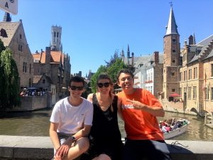 Federico Ohle (L) and Maxwell classmates and Brussels Program participants Michaela Eagan and Johnathan Medina during a trip to Bruge
