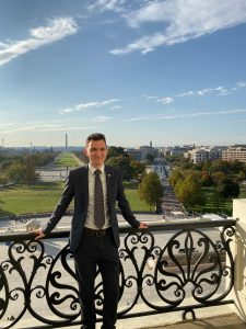 Askar Salikhov poses from the speaker's balcony at the U.S.